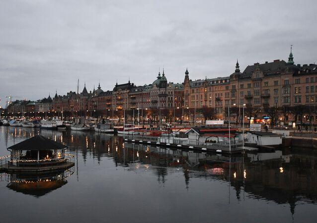 Nabrzeże na Starym Mieście w Sztokholmie