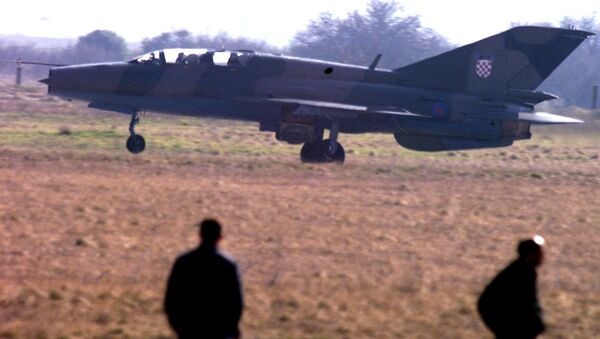 Chorwacki myśliwiec MiG-21 na lotnisku w Puli. Zdjęcie archiwalne - Sputnik Polska