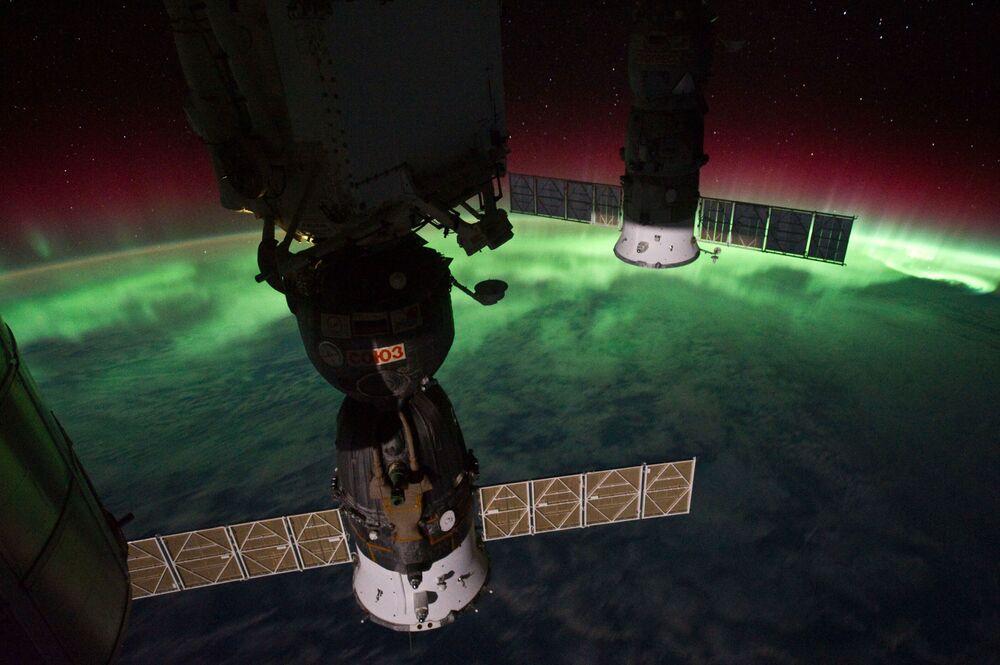 Zdjęcie zorzy polarnej z pokładu MSK