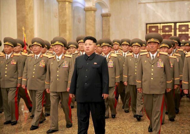 Przywódca Korei Północnej Kim Dzong Un w Pałacu Kŭmsusan w dniu obchodów 62. rocznicy zakończenia wojny koreańskiej