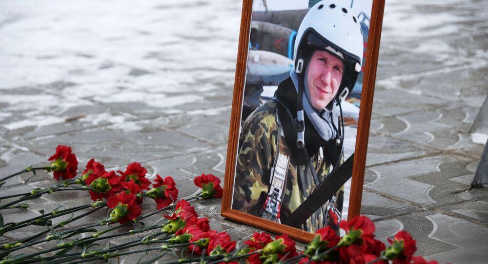Portret poległego w Ssyrii pilota Romana Filipowa