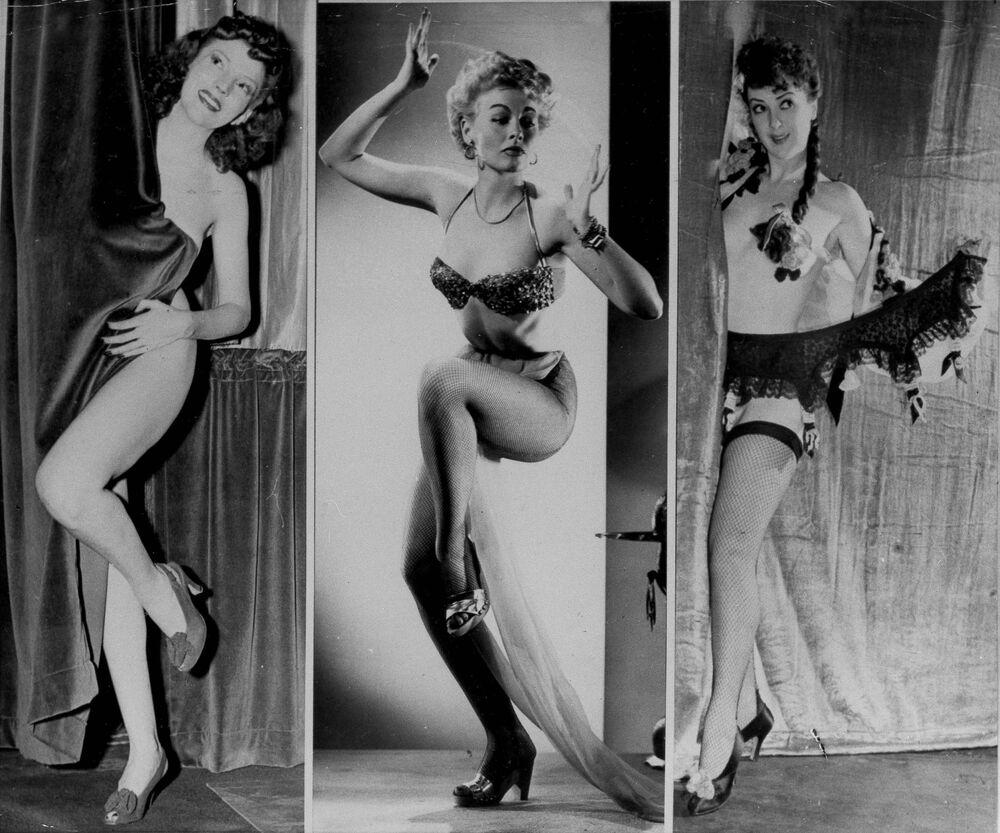 Striptizerki od lewej: Margie Hart, Lili St. Cyr i Gypsy Rose Lee