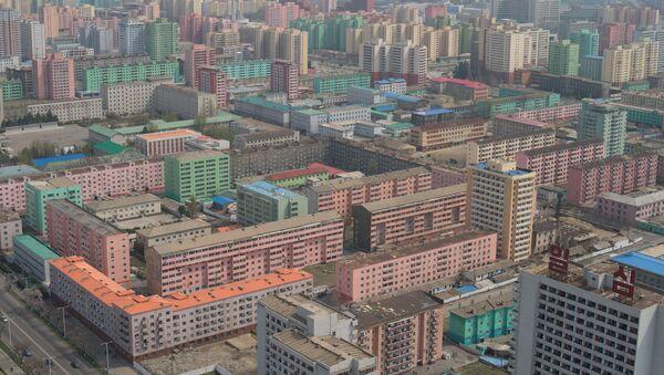 Widok na Pjongjang z tarasu widokowego wieży idei Dżucze - Sputnik Polska