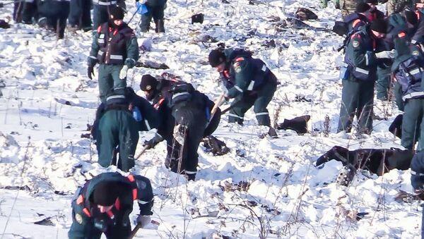 Pracownicy Ministerstwa Spraw Nadzwyczajnych Rosji w obwodzie moskiewskim, gdzie rozbił się samolot An-148 Saratov Airlines rejsu 703 Moskwa-Orsk - Sputnik Polska