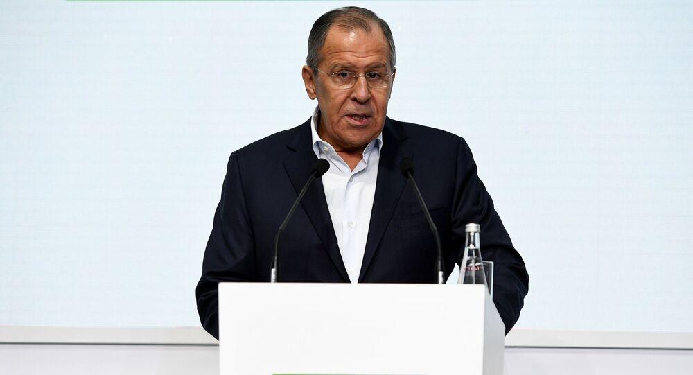 Minister spraw zagranicznych Rosji Sergiej Ławrow na uroczystości otwarcia finału konkursu Liderzy Rosji w Soczi