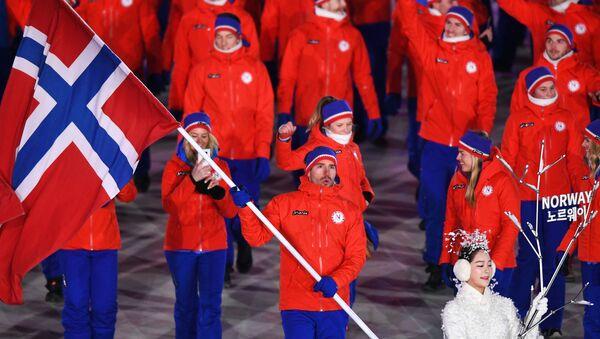 Reprezentacja Norwegii na ceremonii otwarcia Igrzysk Olimpijskich w Pjongczangu - Sputnik Polska
