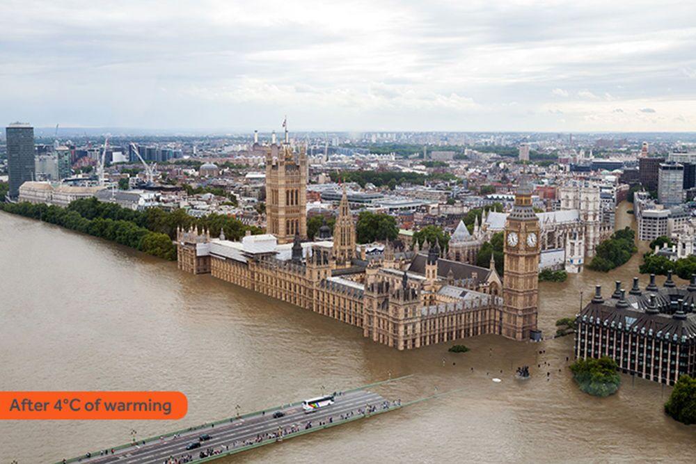 Jak wyglądałby Londyn po zatopieniu w rezultacie globalnego ocieplenia