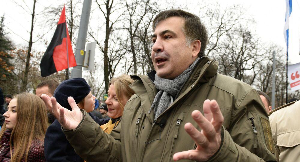 Michail Saakaschwili bei einer Protestaktion in Kiew, Dezember 2017