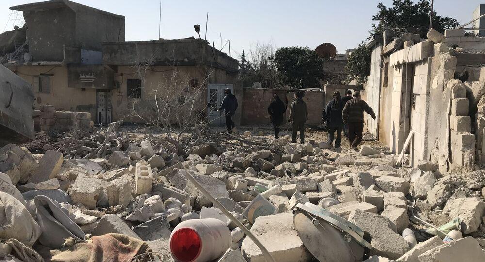 Skutki tureckich nalotów w syryjskim regionie Afrin