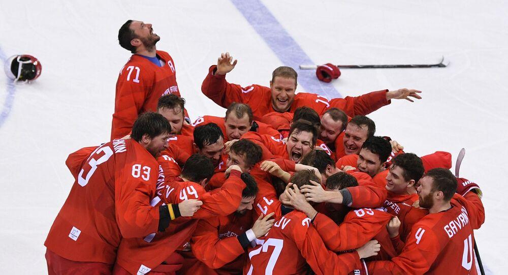 Rosyjcy hokeiści po zwycięstwie na Olimpiadzie