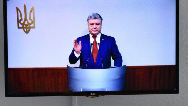 Prezydent Ukrainy Petro Poroszenko w trybie wideokonferencji - Sputnik Polska