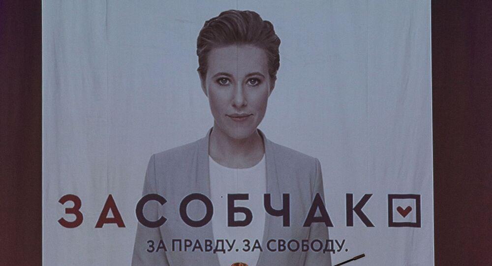 Ksenia Sobczak na spotkaniu wyborczym w Murmańsku