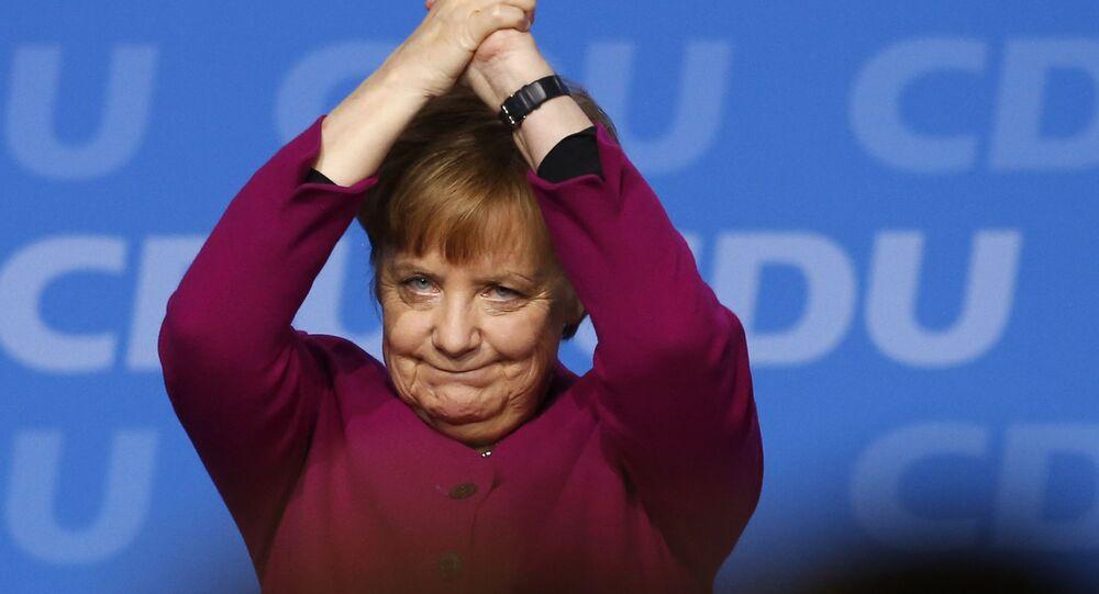 Kanclerz Niemiec Angela Merkel na zjeździe CDU