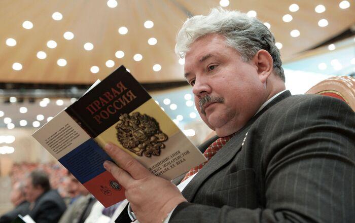 Polityk Siergiej Baburin podczas otwarcia XIX. Wszechświatowego Rosyjskiego Soboru Narodowego