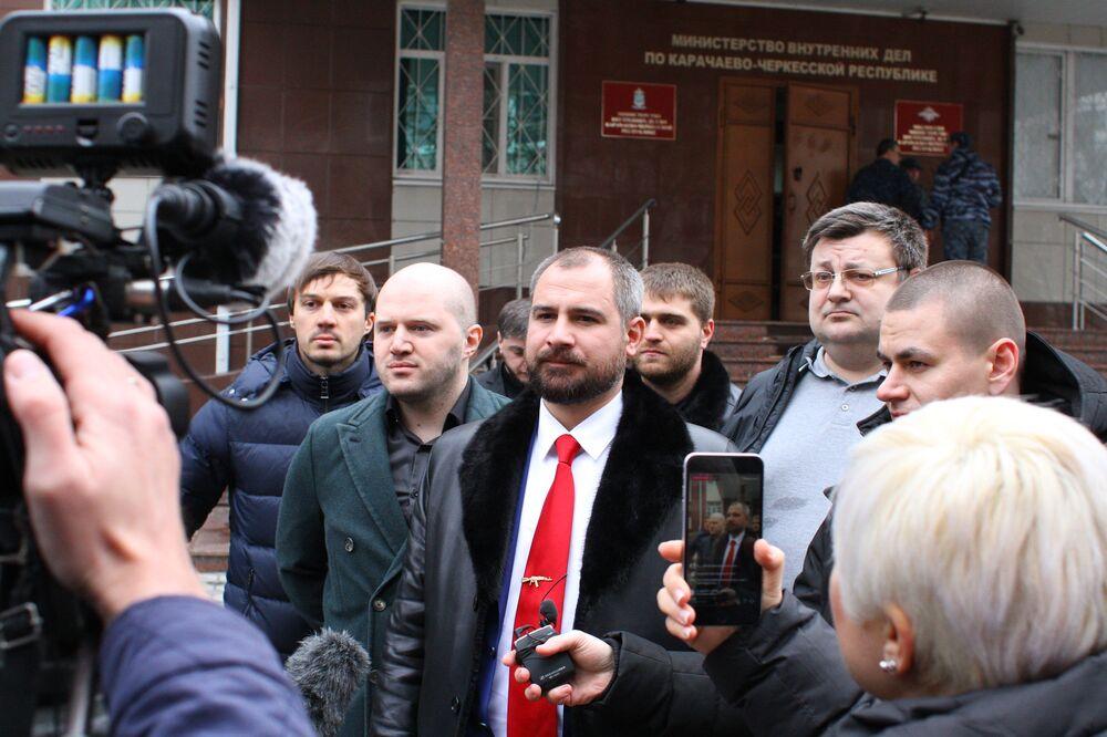 Kandydat na prezydenta Rosji Maksim Surajkin podczas wizyty w Karaczajo-Czerkiesji