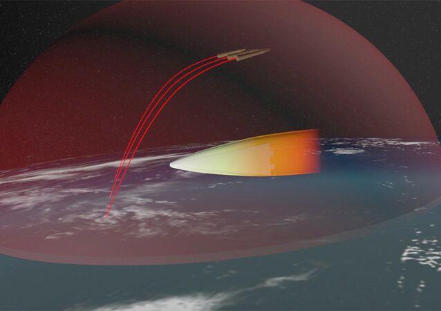 Przedstawianie rosyjskiego strategicznego systemu rakietowego z hipersoniczną manewrującą głowicą szybującą