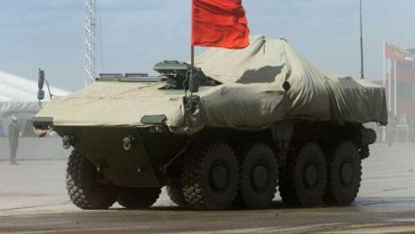 BTR na platformie kołowej średniej kategorii wagowej Bumerang podczas próby generalnej Defilady Zwycięstwa w Moskwie - Sputnik Polska