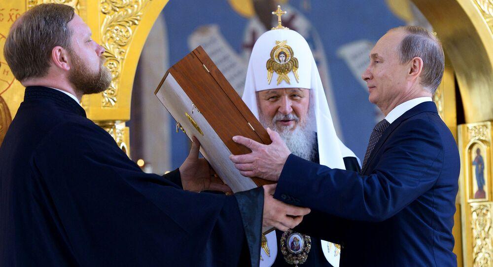 Jego Świątobliwość Patriarcha moskiewski i całej Rusi Cyryl I i Prezydent Rosji Władimir Putin w dniu obchodów rocznicy Chrzestu Rusi