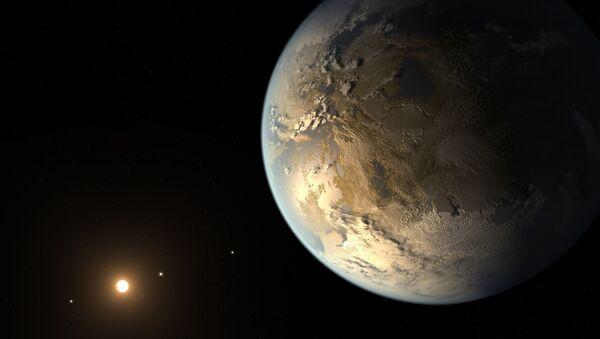 Artystyczne przedstawienie planety Kepler-186f potencjalnie nadającej się do życia - Sputnik Polska