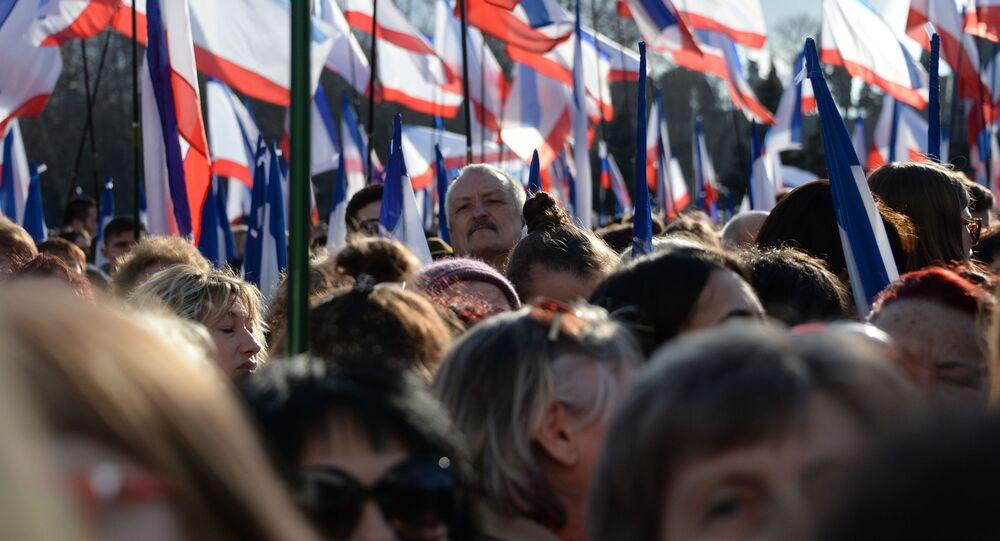 Miting w Sewastopolu z okazji rocznicy zjednoczenia Krymu z Rosją