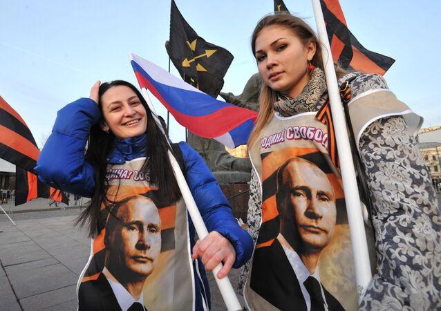 Uczestniczki wiecu sił patriotycznych w Moskwie