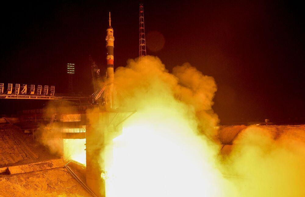 Start rakiety nośnej Sojuz-FG z kosmodromu Bajkonur