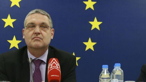 Ambasador Unii Europejskiej w Rosji Markus Ederer na konferencji prasowej w Moskwie - Sputnik Polska
