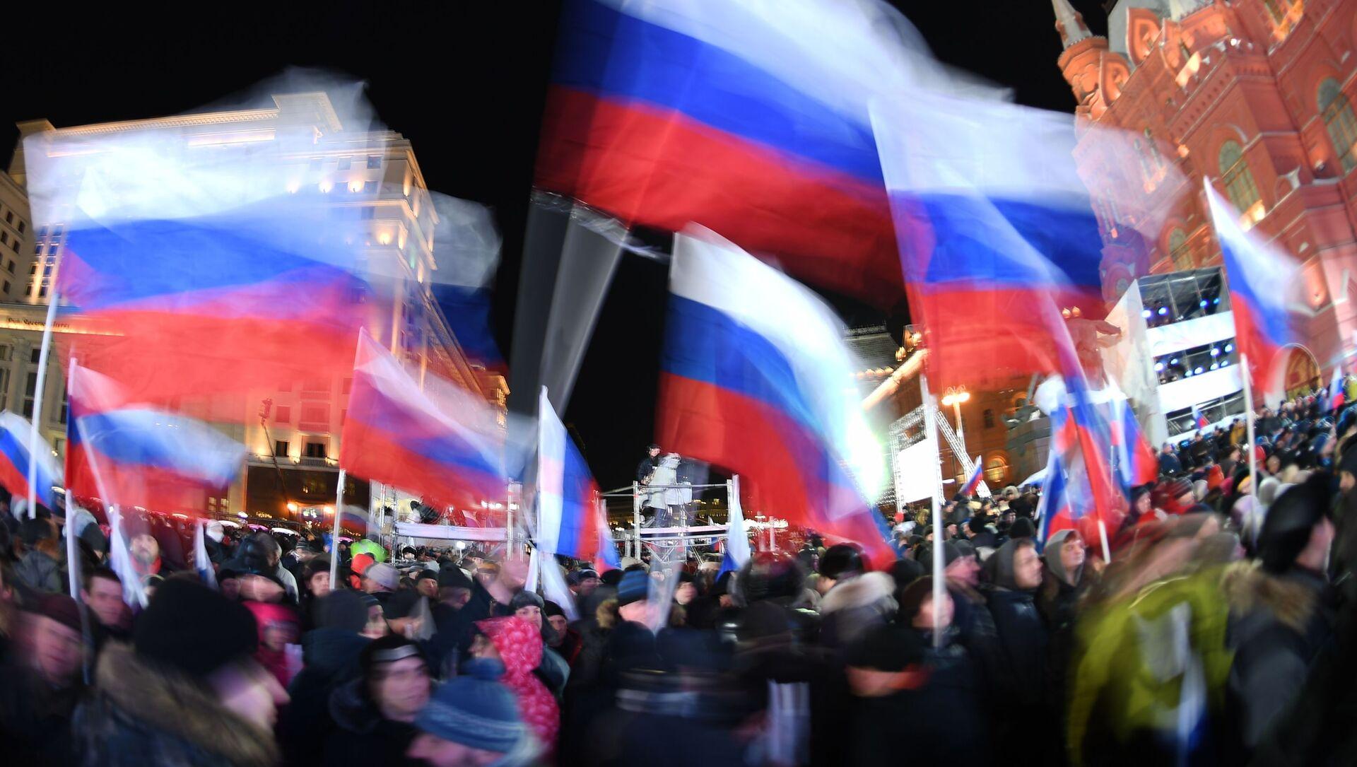 Koncert w Moskwie poświęcony rocznicy połączenia Krymu z Rosją - Sputnik Polska, 1920, 20.02.2021
