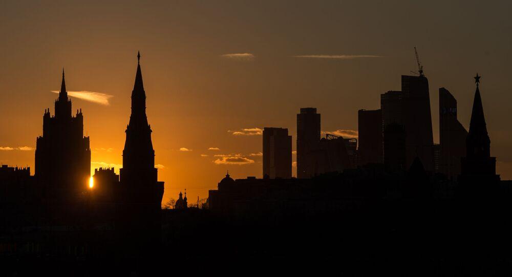 Widok na gmach Ministerstwa Spraw Zagranicznych Rosji, Kreml i centrum Moskwa-City