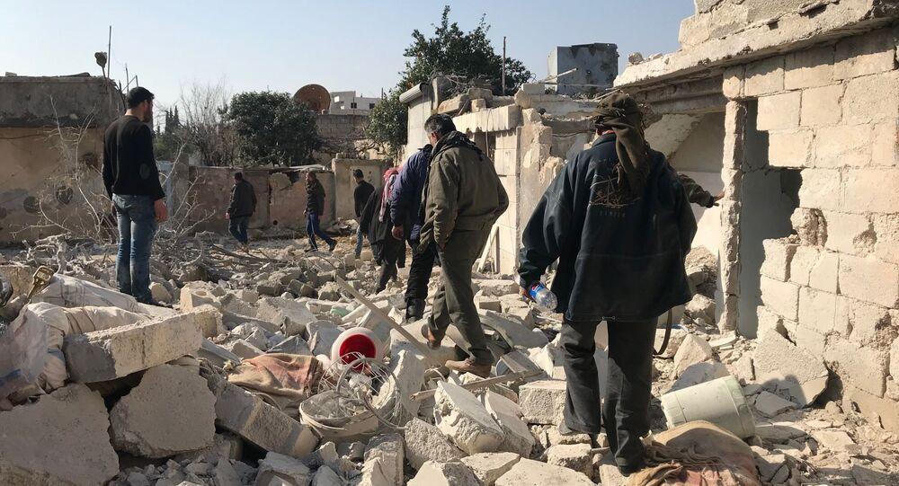 Miejscowość Dżenderes w kantonie Afrin na północy Syrii po nalocie i ostrzale artyleryjskim przez tureckie siły zbrojne