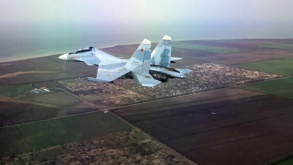 Wielozadaniowy myśliwiec Su-30SM na zawodach w ramach międzynarodowego konkursu Aviadarts-2018 w Kraju Krasnodarskim  - Sputnik Polska