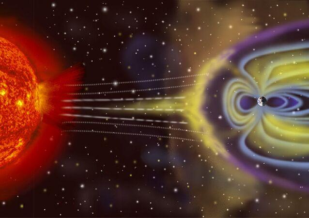 Schemat powstania burzy geomagnetycznej na Ziemi