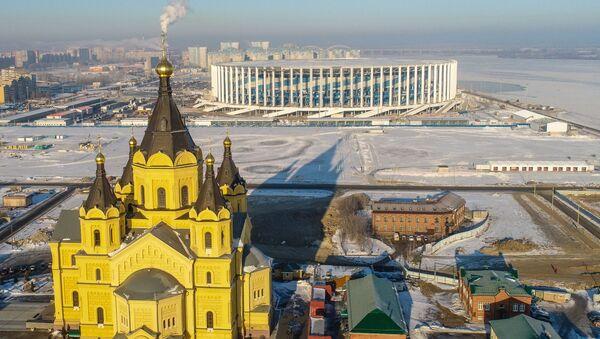 Widok na katedrę Aleksandra Newskiego i stadion Niżny Nowogród - Sputnik Polska