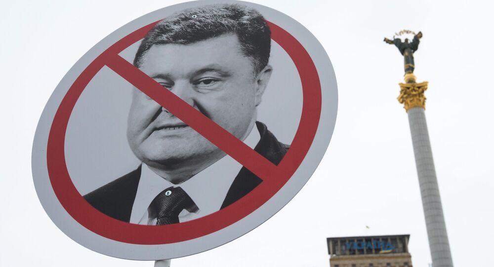 Akcja Ukraińców żądających dymisji prezydenta Petra Poroszenki w Kijowie