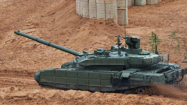 Czołg T-90M podczas wspólnych ćwiczeń strategicznych sił zbrojnych Rosji i Białorusi na poligonie Łużskim w obwodzie leningradzkim - Sputnik Polska