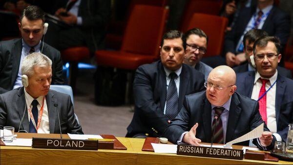 Stały przedstawiciel Rosji w ONZ Wasilij Nebenzja na posiedzeniu RB ONZ w Nowym Jorku - Sputnik Polska