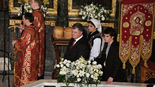 Prezydent Ukrainy Petro Poroszenko złożył  życzenia wielkanocne rodakom - Sputnik Polska