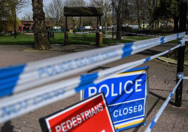 Barierki przy wejściu do parku w Salisbury, gdzie na ławce znaleziono byłego pułkownika GRU Siergieja Skripala i jego córkę Julię
