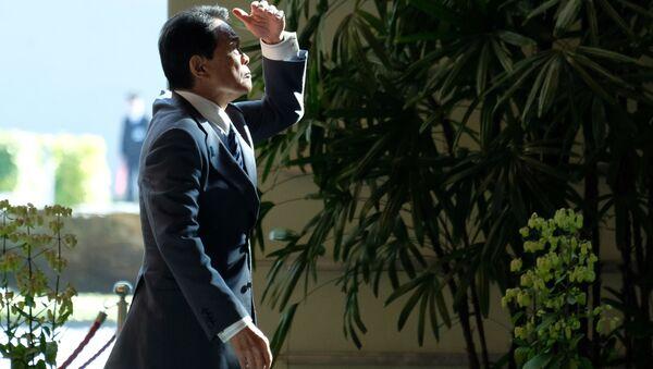 Minister spraw zagranicznych Japonii Taro Kono na konferencji prasowej - Sputnik Polska
