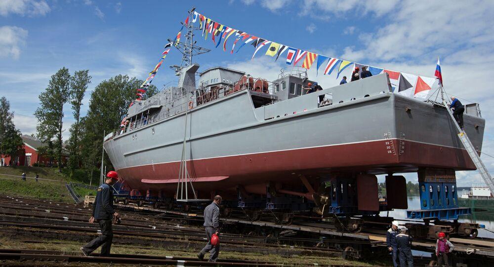 """Wodowanie okrętu obrony przeciwminowej """"Aleksander Obuchow"""""""