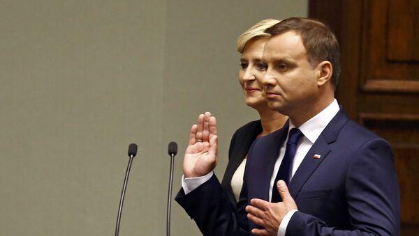 Nowy prezydent Polski Andrzej Duda podczas uroczystości zaprzysiężenia w Warszawie - Sputnik Polska