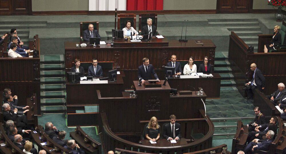 Prezydent Polski Andrzej Dudа zwraca się do parlamentu po ceremonii zaprzysiężenia w Warszawie