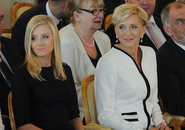 Pierwsza dama Polski Agata Kornhauser-Duda z córką Kingą Dudą na ceremonii inauguracji