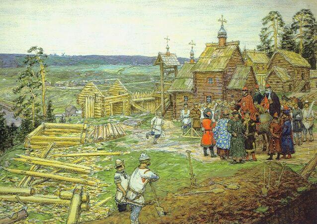 """Obraz Apollinaria Wasniecowa """"Założenie Moskwy. Budowa pierwszych murów Kremla przez Jurija Dołgorukiego w 1156 roku"""", 1917"""