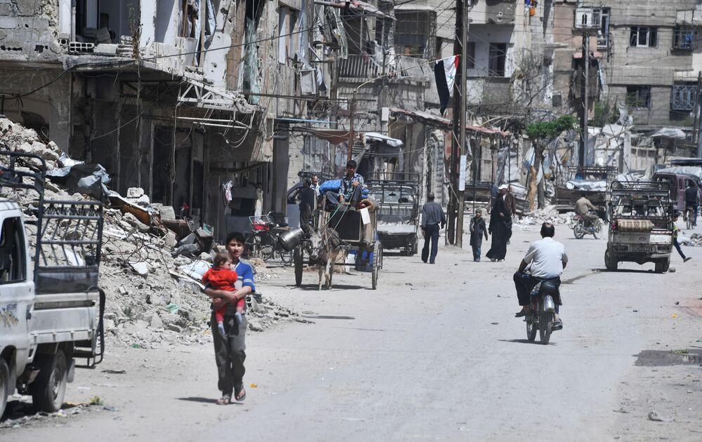 Przedmieścia Damaszku po wyzwoleniu z rąk bojowników