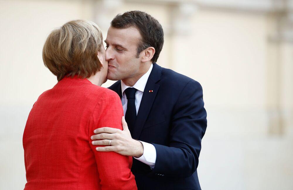 Kanclerz Niemiec Angela Merkel i prezydent Francji Emmanuel Macron podczas spotkania w Berlinie