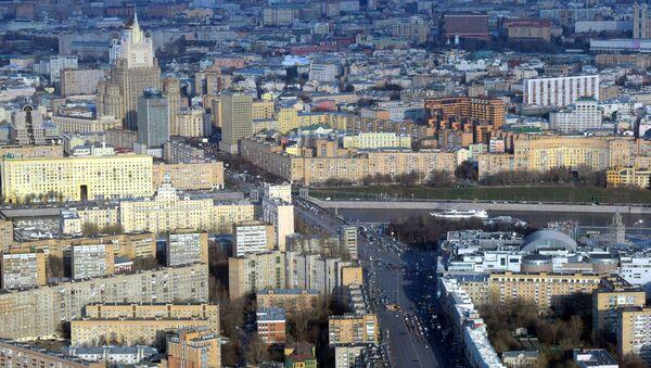 Widok z najwyższego placu widokowego w Europie, który znajduje się na 88 piętrze kompleksu biznesowego Moskwa city. - Sputnik Polska