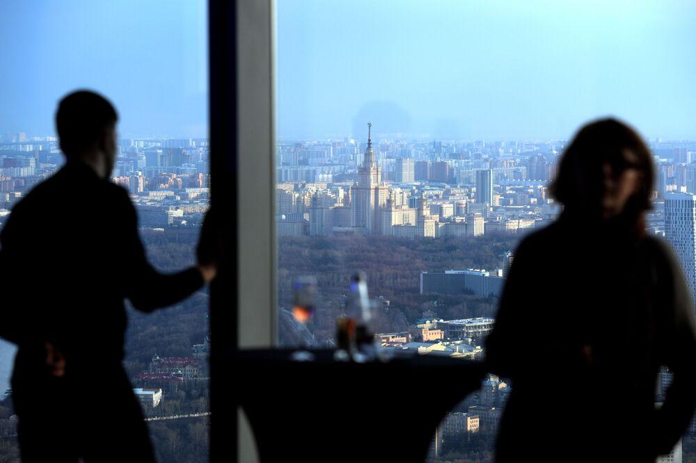 Najwyższy plac widokowy w Europie, który znajduje się na 88 piętrze kompleksu biznesowego Moskwa city.