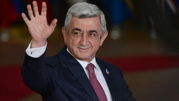 Prezydent Armenii Serż Sarkisjan przed rozpoczęciem 5 szczytu Partnerstwa Wschodniego w Brukseli - Sputnik Polska