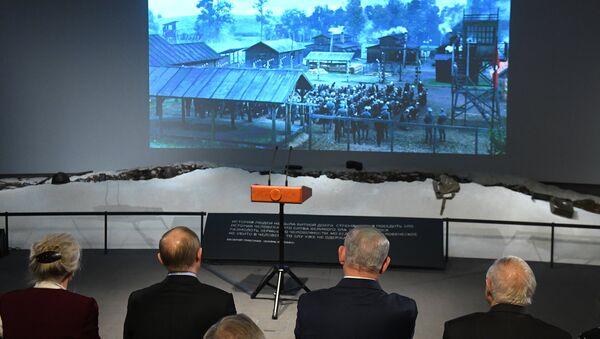 Władimir Putin i Benjamin Netanjahu oglądają film Sobibór - Sputnik Polska
